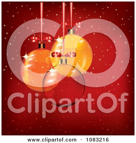 Clipart 3d Clear Glass And Orange Christmas Baubles Over Red With Snow - Royalty Free Vector Illustration by MilsiArt