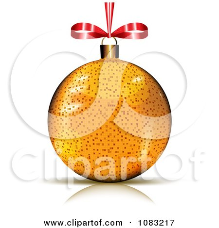 Clipart 3d Golden Christmas Bauble With A Red Bow - Royalty Free Vector Illustration by MilsiArt