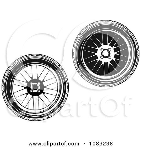 Clipart Black And White Wheels - Royalty Free Vector Illustration by Vector Tradition SM