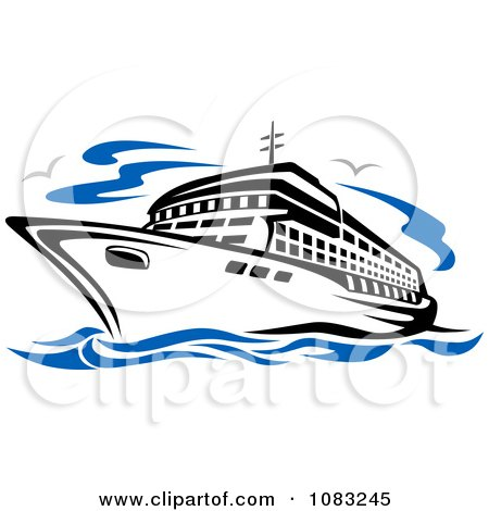 Clipart Seagulls And A Cruise Ship - Royalty Free Vector Illustration by Vector Tradition SM