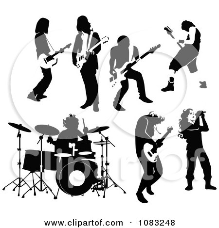 Clipart Black And White Rock And Roll Musicians - Royalty Free Vector Illustration by Frisko