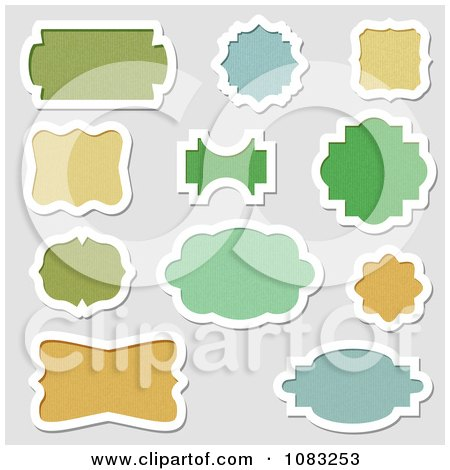 Clipart Green Blue And Orange Frames Or Labels - Royalty Free Vector Illustration by vectorace