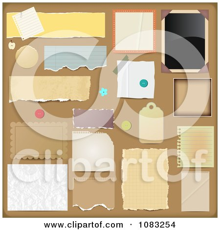 Clipart Scrapbooking Design Elements On Brown - Royalty Free Vector Illustration by vectorace