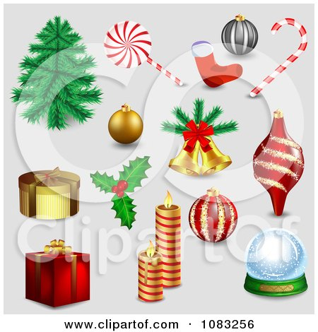 Clipart 3d Christmas Items On Gray - Royalty Free Vector Illustration by vectorace