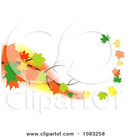 Clipart Autumn Maple Leaves Floating Off Of A Branch In A Breeze - Royalty Free Vector Illustration by vectorace