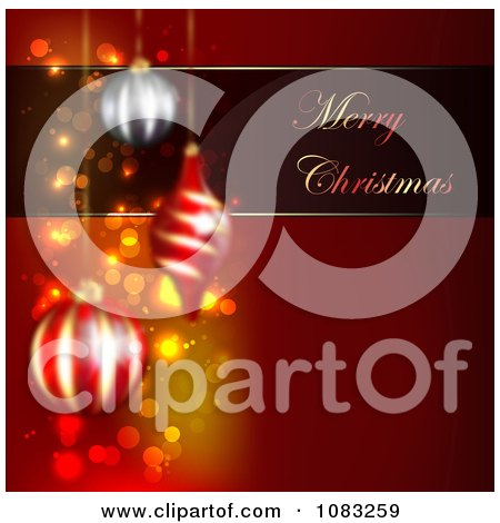 Clipart Merry Christmas Greeting With Baubles On Red - Royalty Free Illustration by vectorace