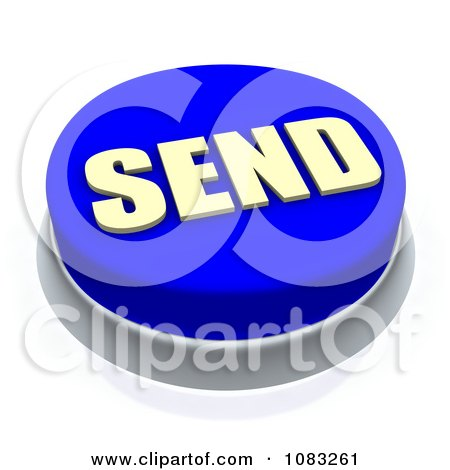 Clipart 3d Blue Send Button - Royalty Free CGI Illustration by Jiri Moucka