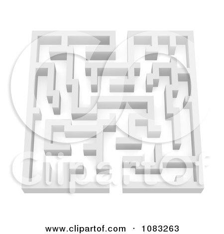 Clipart 3d White Complex Labrinth Maze - Royalty Free CGI Illustration by Jiri Moucka