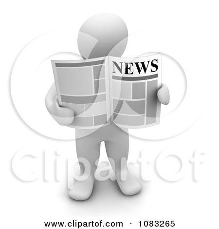 Clipart 3d Blanco White Man Holding A Newspaper - Royalty Free CGI Illustration by Jiri Moucka