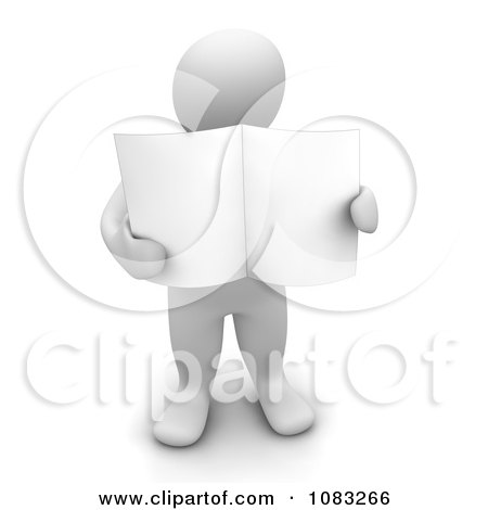 Clipart 3d Blanco White Man Holding A Blank Newspaper - Royalty Free CGI Illustration by Jiri Moucka