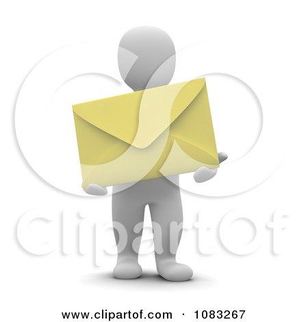 Clipart 3d Blanco White Man Holding A Yellow Envelope - Royalty Free CGI Illustration by Jiri Moucka