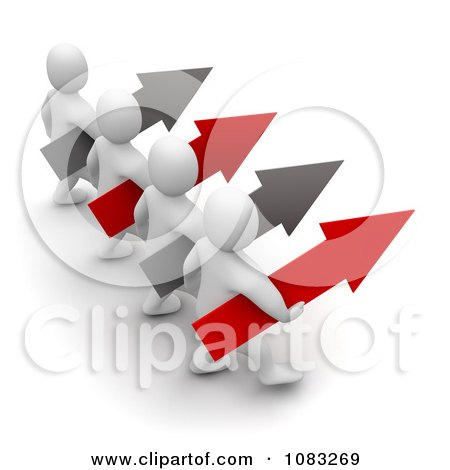 Clipart 3d Blanco White Men Leading With Arrows - Royalty Free CGI Illustration by Jiri Moucka