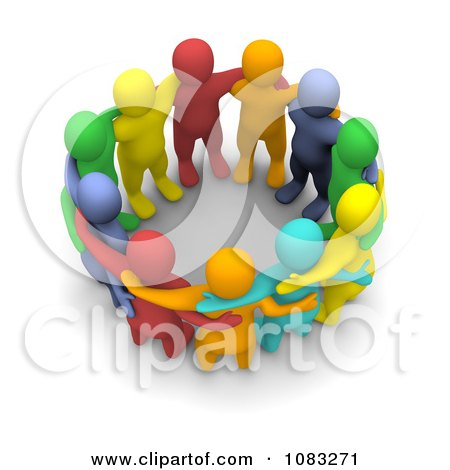 Clipart 3d Colorful Group Of People Huddled - Royalty Free CGI Illustration by Jiri Moucka