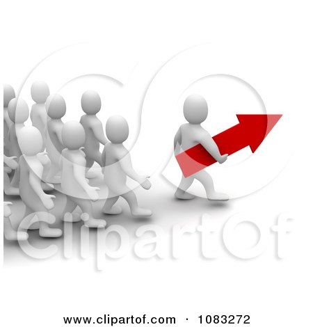 Clipart 3d Blanco White Man Leader Carrying An Arrow In Front Of His Team - Royalty Free CGI Illustration by Jiri Moucka