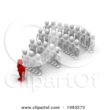 Clipart 3d Red Man Leader And White Followers - Royalty Free CGI Illustration by Jiri Moucka