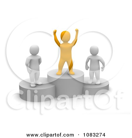 Clipart 3d Orange Anaranjado Man And Opponents On Podiums - Royalty Free CGI Illustration by Jiri Moucka