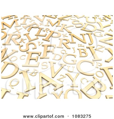 Clipart 3d Golden Capital Letters On White - Royalty Free CGI Illustration by Jiri Moucka