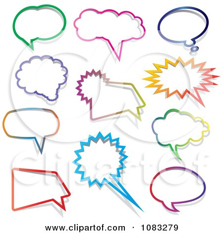 Clipart Colorful Chatting Balloons - Royalty Free Vector Illustration by KJ Pargeter