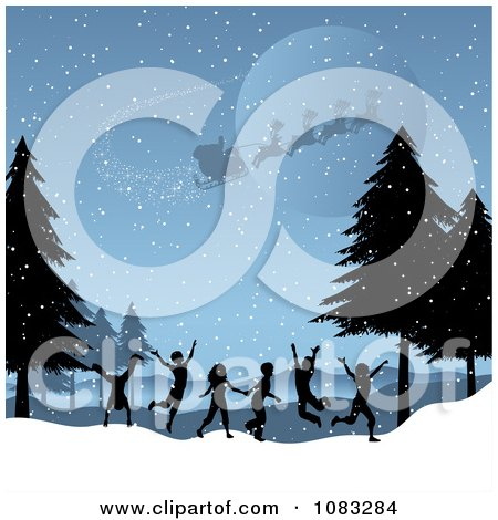 Clipart Santa Flying Above Silhouetted Kids Playing In A Winter Landscape - Royalty Free Vector Illustration by KJ Pargeter