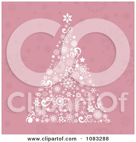 Clipart Pink Retro Christmas Tree Background
