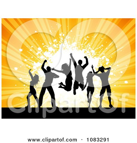 Clipart Silhouetted Dance Team Over Orange Rays And Grunge - Royalty Free Vector Illustration by KJ Pargeter
