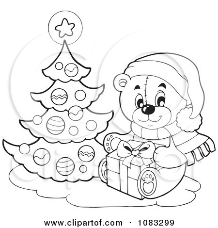 Clipart Outlined Christmas Teddy Bear With A Tree And Gift Royalty