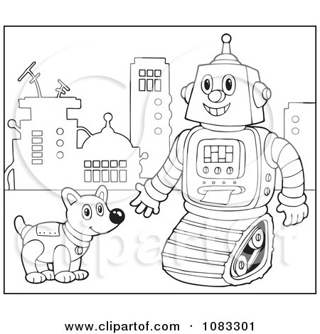 Clipart Outlined Robot And Dog - Royalty Free Vector Illustration by visekart