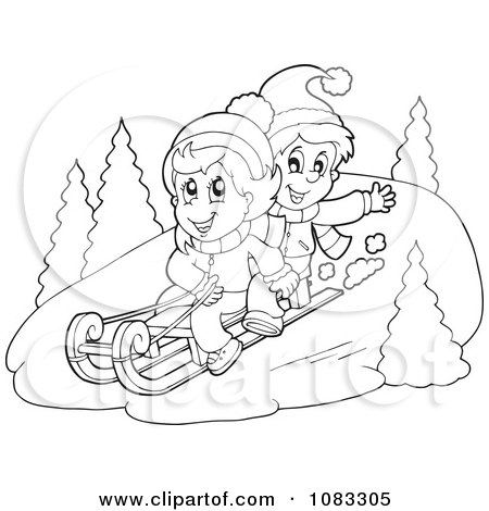 Clipart Boy Pulling A Dog On A Sled Through The Snow