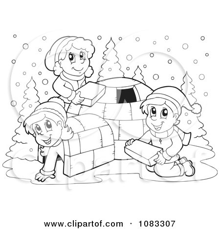 Clipart Outlined Winter Kids Making An Igloo - Royalty Free Vector Illustration by visekart