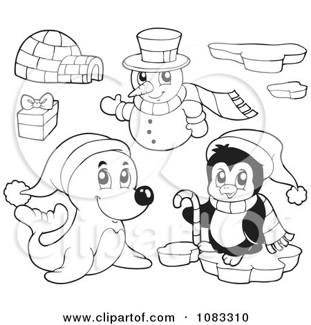 Clipart Outlined Seal Penguin Igloo And Christmas Snowman - Royalty Free Vector Illustration by visekart