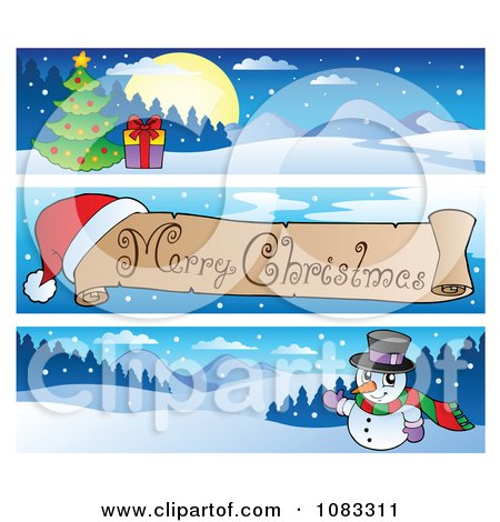 Clipart Merry Christmas Banners 1 - Royalty Free Vector Illustration by visekart