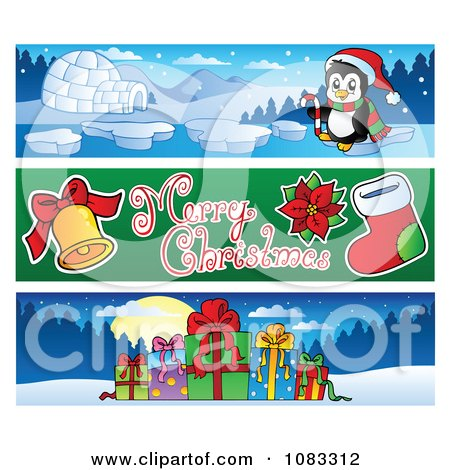 Clipart Merry Christmas Banners 2 - Royalty Free Vector Illustration by visekart