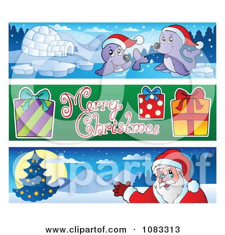 Clipart Merry Christmas Banners 3 - Royalty Free Vector Illustration by visekart