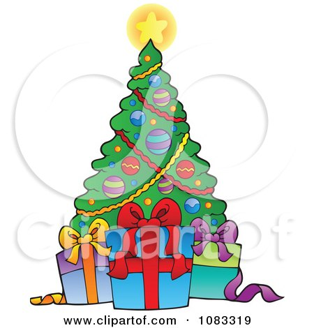 Clipart Gift Boxes And A Christmas Tree - Royalty Free Vector Illustration by visekart