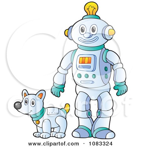 Clipart Futuristic Robot And Pet Dog - Royalty Free Vector Illustration by visekart