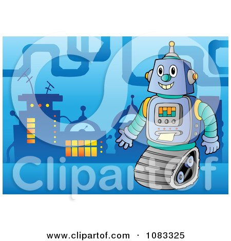 Clipart Robot In A Futuristic City 1 - Royalty Free Vector Illustration by visekart