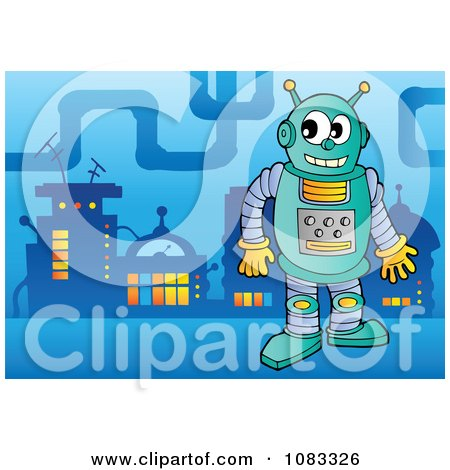 Clipart Robot In A Futuristic City 2 - Royalty Free Vector Illustration by visekart