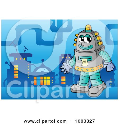 Clipart Robot In A Futuristic City 3 - Royalty Free Vector Illustration by visekart