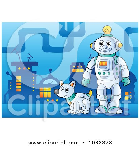 Clipart Robot And Dog In A City - Royalty Free Vector Illustration by visekart