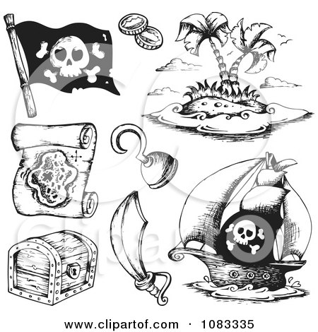 Clipart Black And White Pirate Items - Royalty Free Vector Illustration by visekart