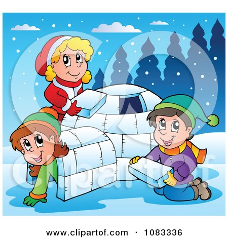 Clipart Winter Kids Making An Igloo - Royalty Free Vector Illustration by visekart