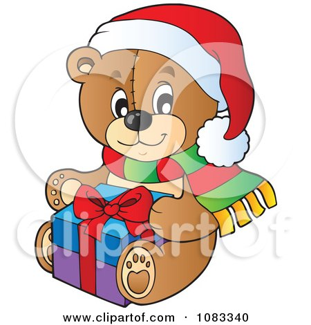 Clipart Christmas Teddy Bear Holding A Present - Royalty Free Vector Illustration by visekart