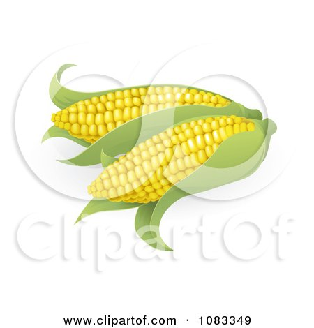 Clipart 3d Ears Of Sweet Corn - Royalty Free Vector Illustration by AtStockIllustration