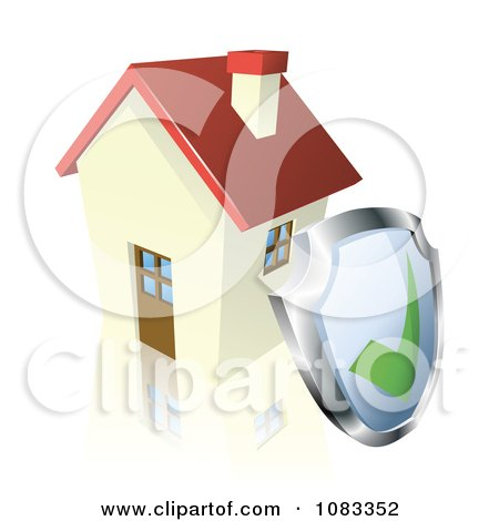 Clipart 3d Home Security Shield Against A House - Royalty Free Vector Illustration by AtStockIllustration