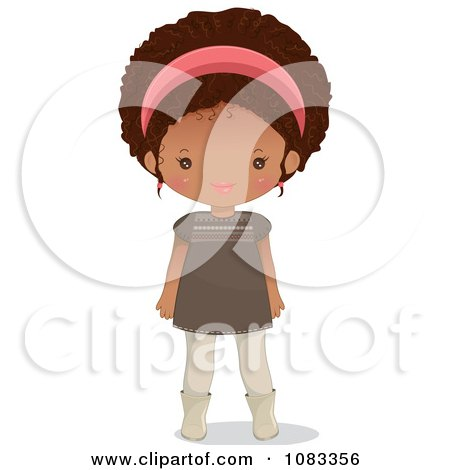 Clipart Stylish Black Girl With A Pink Headband - Royalty Free Vector Illustration by Melisende Vector