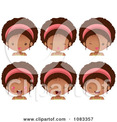 Clipart Expressional Black Girl Faces With Pink Headbands - Royalty Free Vector Illustration by Melisende Vector