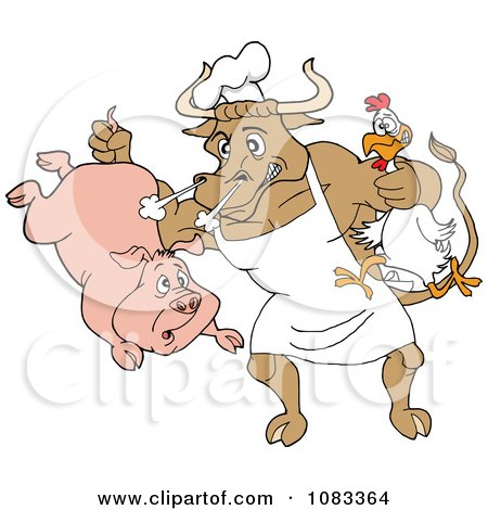 Chef Bull Holding A Pig And Chicken