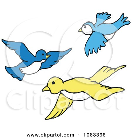 clipart blue and yellow birds flying royalty free vector rh clipartof com animated birds flying clipart black birds flying clipart