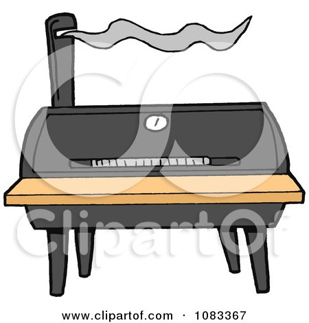Clipart Barrel Barbecue Smoker - Royalty Free Vector Illustration by LaffToon