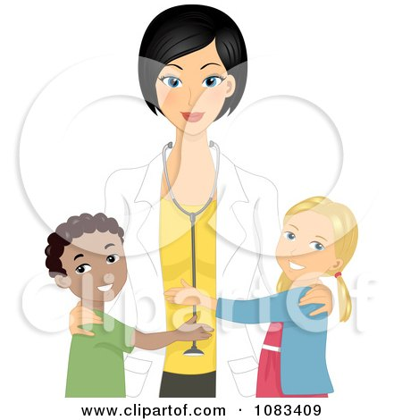 Clipart Happy Kids Hugging Their Pediatric Doctor - Royalty Free Vector Illustration by BNP Design Studio